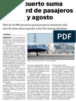151013 La Verdad CG- El Aeropuerto Suma Un Récord de Pasajeros en Julio y Agosto p.8