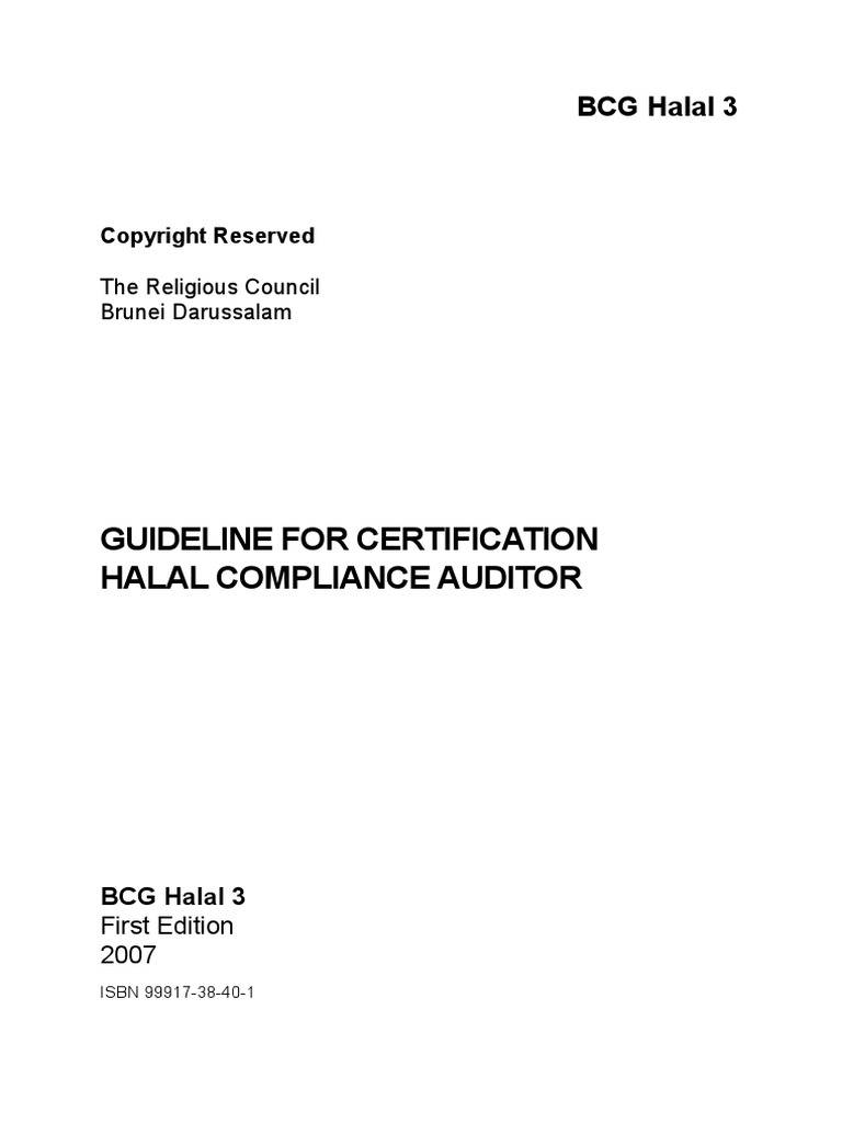 Guideline For Halal Certification Auditior Audit Verification