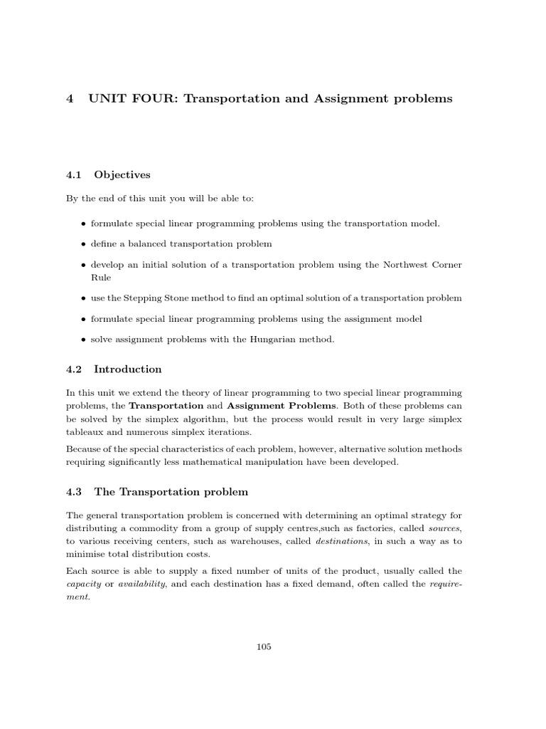 Transportation Assignment 3 | Linear Programming