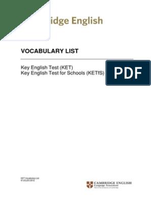 Ket Vocabulary List | Foods | Languages
