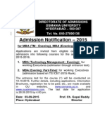 Admission Notification-2015 for MBA (Evening - Part Time)