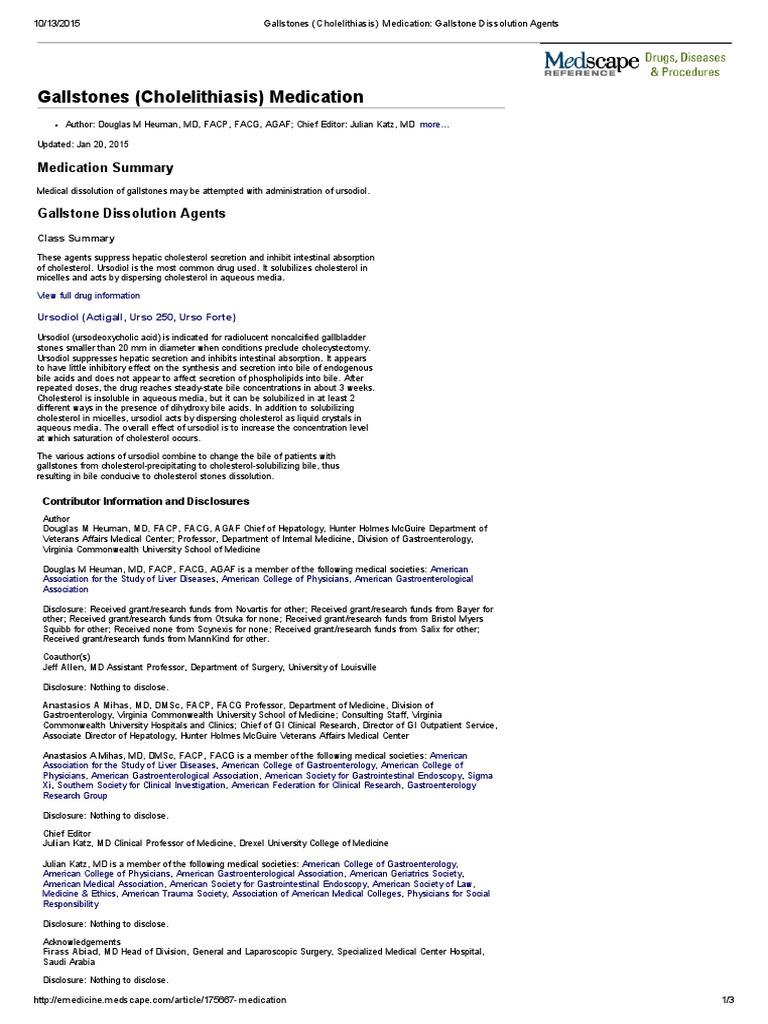 Gallstones (Cholelithiasis) Medication_ Gallstone Dissolution Agents