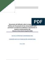Documento de Reflexión sobre la mejora de las Políticas de Financiación de las Universidades para promover la excelencia académica e incrementar el impacto socioeconómico del Sistema Universitario Español (SUE)