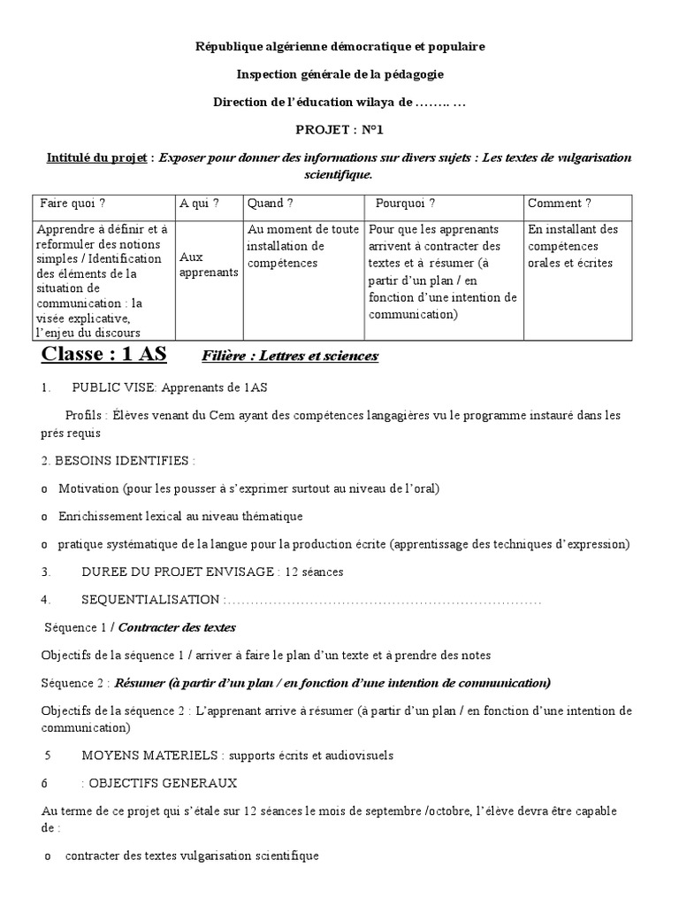Fiches Projets 1as Et 2as Communication Informations