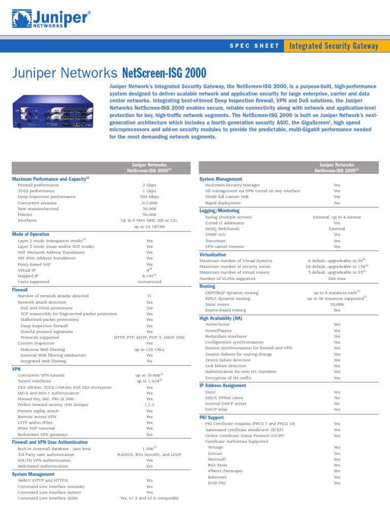 Juniper Netscreen ISG 2000 Datasheet | Virtual Private
