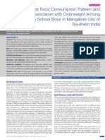 Fast Food Consumption Pattern and Its Association with Overweight Among High School Boys in Mangalore City of Southern India