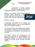 27 01 2011 Presentación del Libro de Derecho Electoral por el Dr. Eduardo Andrade Sánchez