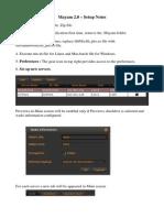 Mayam 2.0 Setup Notes