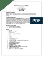 British Literature Course Syllabus Revised 3-16-10