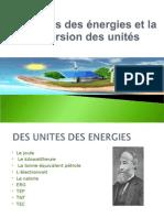 Les Unités Des Énergies Et La Conversion Des