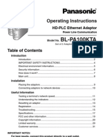 Panasonic Ethernet over Powerline Operating Instructions BL-PA100KTA
