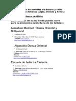 Base de Datos de Escuelas de Danzas y Salas de Alquiler de Asturias