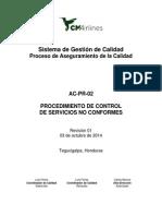 AC-PR-02 Procedimiento de Control de Servicios No Conformes