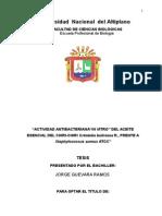 """Actividad Antibacteriana""""in Vitro"""" Del Aceite Esencial Del Chiri-chiri Grindelia Boliviana r., Frente a Staphylococcus Aureus Atcc"""