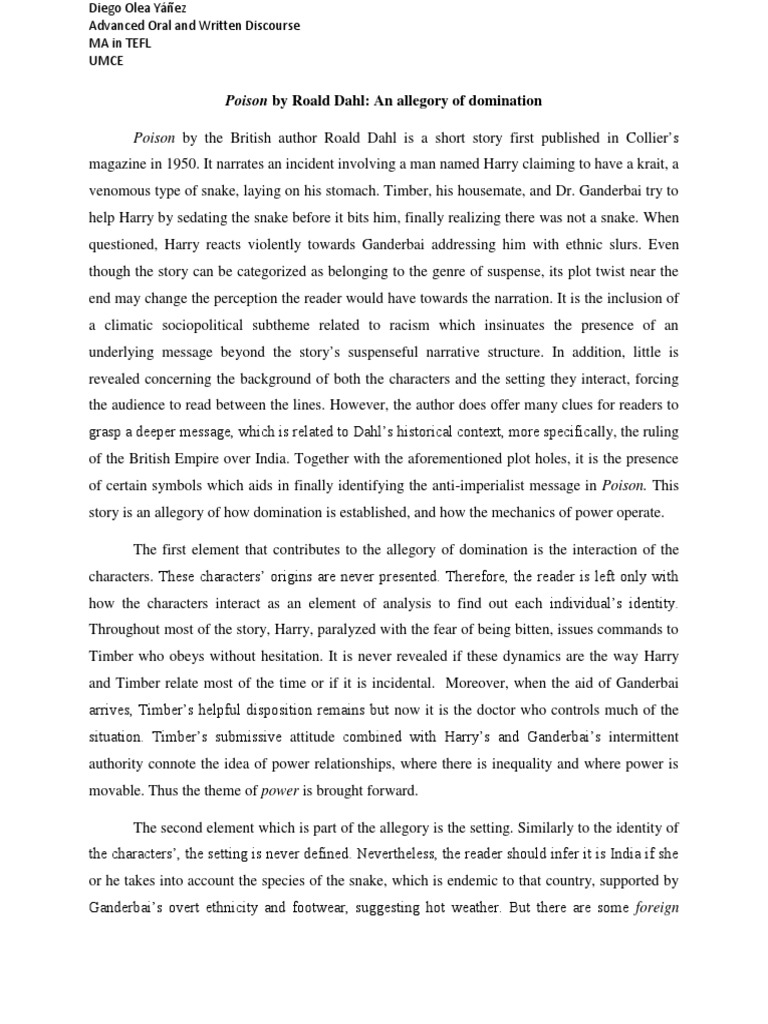 Poison by Roald Dahl An allegory of domination – Allegory Worksheet