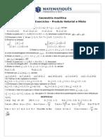 4ª Lista de Exercícios- Produto Vetorial e Misto