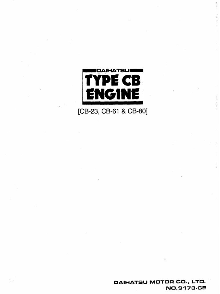 Engine Manual For Daihatsu Cb Series