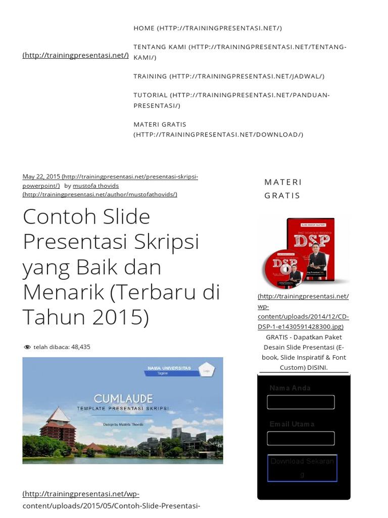 Contoh Slide Presentasi Skripsi Yang Baik Dan Menarik Terbaru Di Tahun 2015