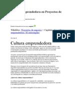 Cultura Emprendedora en Proyectos de Negocio