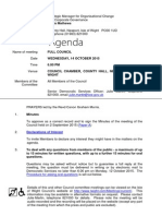 Agenda for the October Isle of Wight  full council meeting