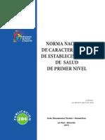 Norma Nacional de Caracterizacion de Establecimientos de Salud de Primer Nivel (La Paz - Bolivia, 2013)