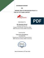 Internship Report on Ml City Bank