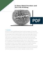Leviathan of Nano Metal Powders and 3D & 4D Printing