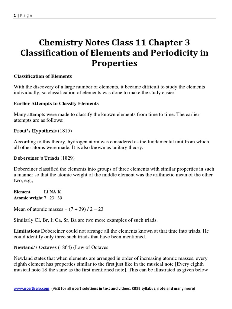 Chemistry notes class 11 chapter 3 classification of elements and chemistry notes class 11 chapter 3 classification of elements and periodicity in properties periodic table ion gamestrikefo Images