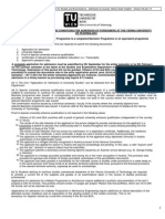 Master Programme Application for Admission Info Sheet