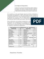 Coeficientes y Porcentajes de Desperdicio