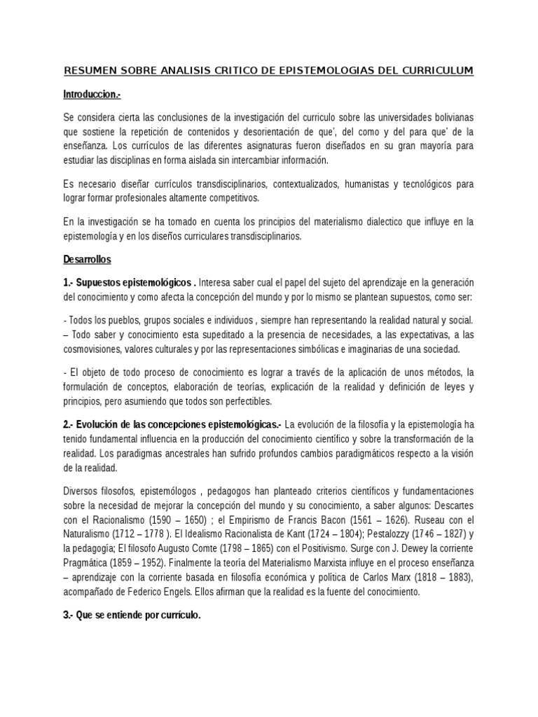 Resumen Sobre Analisis Critico de Epistemologias Del Curriculum