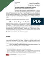 Influência da Gestão Pública na motivação dos professores