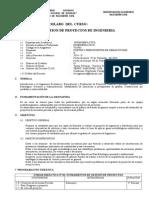 Silabo Gestion de Proyectos 2014-II