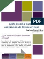 3. Tareas Criticas Metodos de Evaluacion e Identificacion. Ing. Juan Carlos Gallon