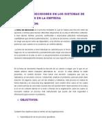 La Toma de Decisiones en Los Sistemas de Imformacion en La Empresa