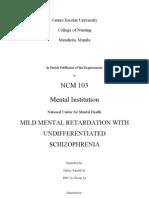 Mild Mental Retardation With Undifferentiated SchizophreniaNCMH