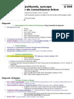 Q008 - Lipothymie Syncope Et Perte de Connaissance Breve