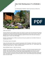 Lake of the Sky Garden Club Meeting June 27 at McBride's Tahoe Tree Nursery