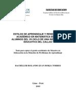 USIL PERU Estilos de Aprendizaje y Rendimiento Académico en Matemática en Los Alumnos Del VII Ciclo de Una Institución Educativa Del Callao
