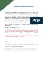 Steps to Rebuild System Databases in SQL Server 2008