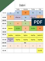 grade 4 timetable  2015-2016