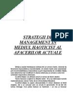 Strategii de Management În Mediul Haoticist Al Afacerilor Actuale