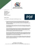 Letter to Madam Speaker