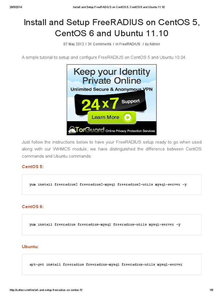Install and Setup FreeRADIUS on CentOS 5 CentOS 6 and Ubuntu