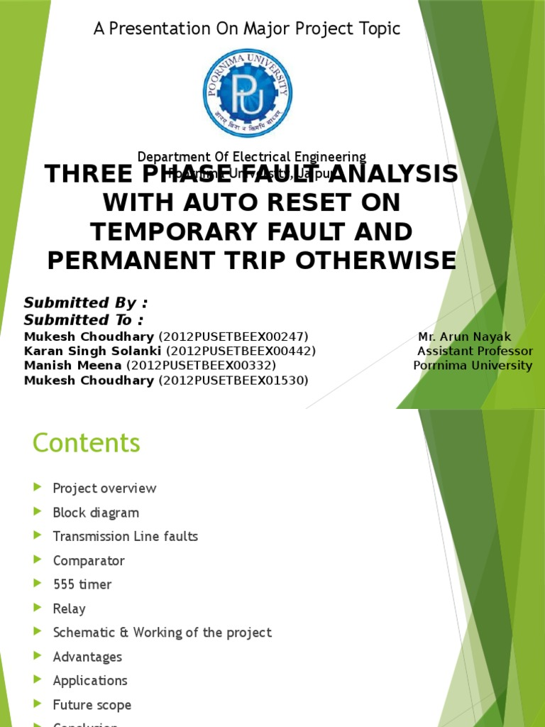 Three Phase Fault Analysis With Auto Reset For Temporary And Block Diagram Of 555 Timer Trip Permanent Ppt Project Operational Amplifier Relay