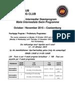 Matie Int Swim Program October 2015 - Coetzenburg 50m Pool