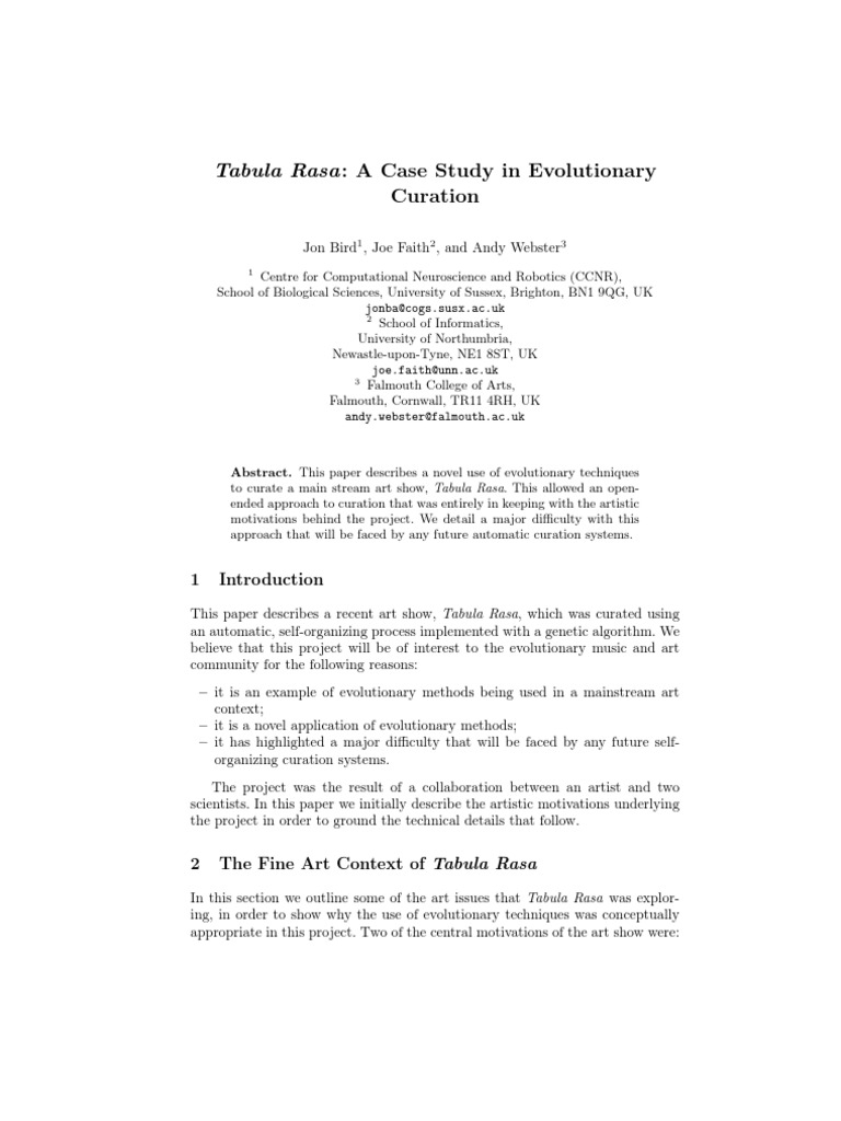 tabula rasa: a case study in evolutionary | genetic algorithm
