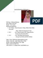Bio Data Mohsina