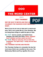 HOLY THURSDAY EVENTS OBSERVATION