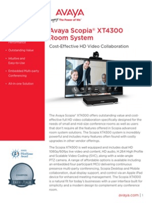 Scopia XT4300 | Videoconferencing | Telecommunications